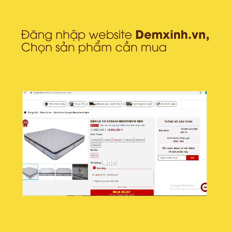 Đăng nhập website Demxinh.vn, Chọn sản phẩm cần mua