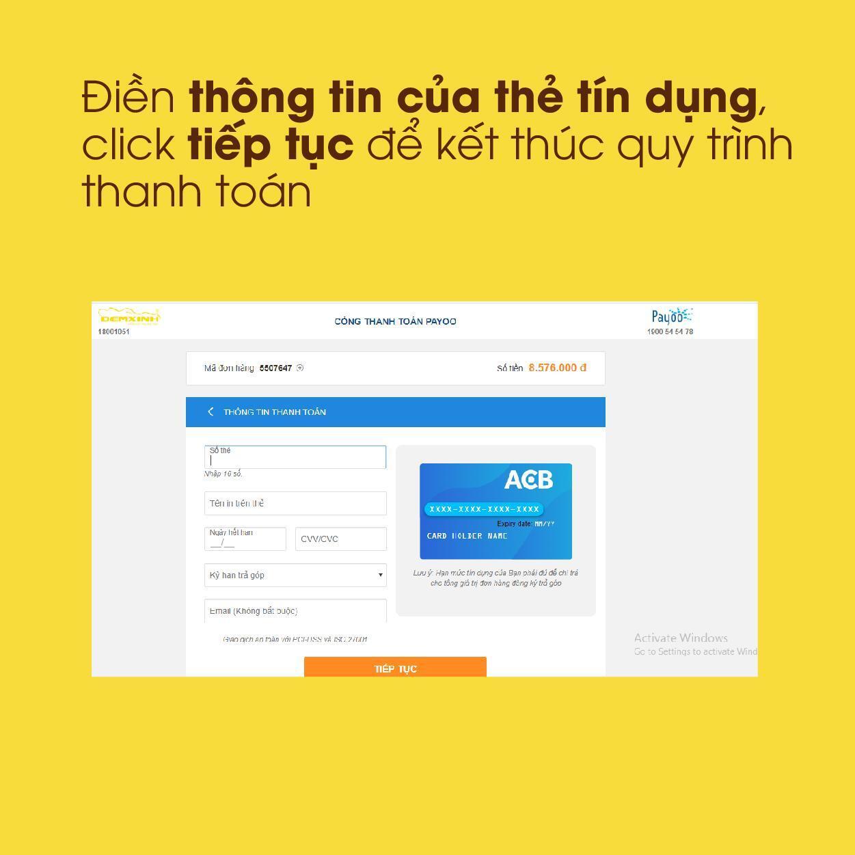 Điền thông tin của thẻ tín dụng, click tiếp tục để kết thúc quy trình thanh toán