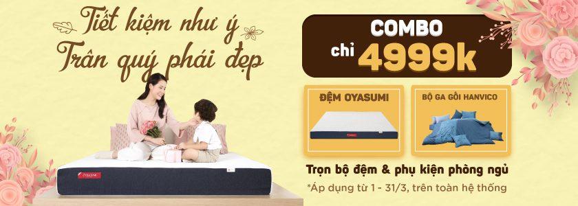 Tiết kiệm hoàn hảo trọn bộ combo phòng ngủ chỉ 4999k